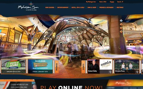 Screenshot of Home Page mohegansun.com - Casino, Resort in CT | Mohegan Sun - captured Jan. 12, 2016