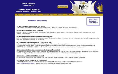 Screenshot of Support Page royalcrestdairy.com - Royal Crest Dairy - Home Delivery - captured Sept. 19, 2014
