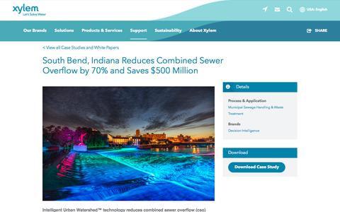Screenshot of Case Studies Page xylem.com - South Bend, Indiana Reduces Combined Sewer Overflow by 70% and Saves $500 Million   Xylem US - captured Nov. 9, 2019