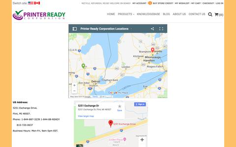 Screenshot of Locations Page printerready.com - Contact Information - captured Sept. 29, 2018