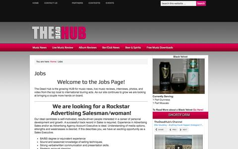 Screenshot of Jobs Page thedeadhub.com - Jobs | The Dead Hub - captured Oct. 9, 2014
