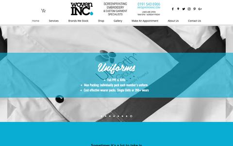 Screenshot of Home Page woveninc.com - Screenprinters | Woven Inc Ltd | Washington - captured Oct. 19, 2018