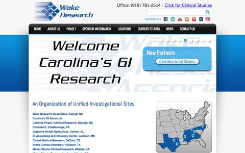 Screenshot of Home Page wakeresearch.com - Wake Research Associates: NC Clinical Research, Trials & Studies - captured Oct. 24, 2016