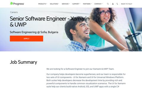 Screenshot of Jobs Page progress.com - Senior Software Engineer - Xamarin & UWP, Software Engineering @ Sofia, Bulgaria - Progress Careers - captured July 17, 2019