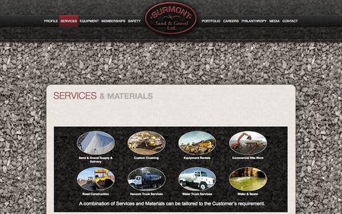 Screenshot of Services Page surmont.ca - SURMONT Sand & Gravel › Sevices & Materials - captured Oct. 7, 2014