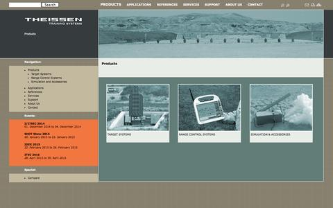 Screenshot of Products Page theissentraining.com - Theissen Training Systems GmbH ::Target systems, simulation, training, LOMAH, location of miss and hit, infantry targets, infantry target, armor target, target system, Location of miss and hit, Location-of-miss-and-hit, LOMAR, L.O.M.A.H., LOHMA, LOMA - captured Oct. 9, 2014