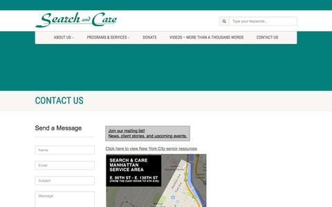 Screenshot of Contact Page searchandcare.org - Contact Us |  Search and Care - captured June 16, 2017