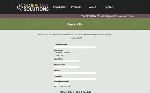 Screenshot of Contact Page globalteasolutions.com - Global Tea Solutions   contact us - captured Aug. 15, 2017