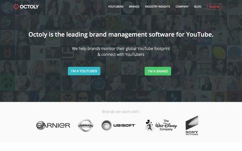Screenshot of Home Page octoly.com - Brand Management Software for Online Video | Octoly.com - captured July 15, 2015