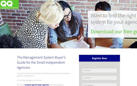 Screenshot of Landing Page vertafore.com - QQ - Management System Buyer's Guide - captured Aug. 20, 2016