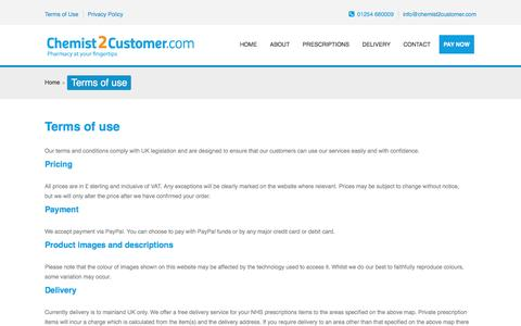Screenshot of Terms Page chemist2customer.com - Chemist 2 Customer | Terms of use - captured Dec. 8, 2015