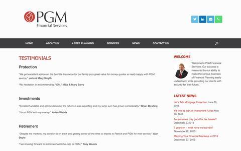 Screenshot of Testimonials Page pgm.ie - TESTIMONIALS - PGM - captured Oct. 18, 2016