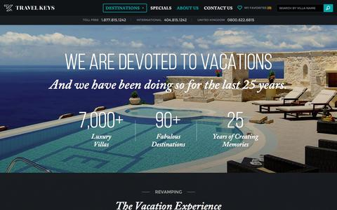 Screenshot of About Page travelkeys.com - Luxury Villa Rentals & Vacation Home Rentals from Travel Keys - captured June 21, 2017