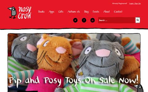 Screenshot of Home Page nosycrow.com - Nosy Crow | Independent children's book and app publisher - captured Oct. 1, 2015