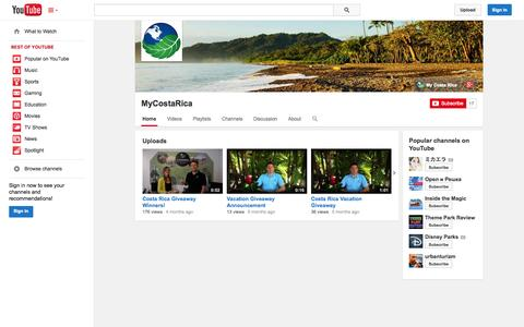 Screenshot of YouTube Page youtube.com - MyCostaRica  - YouTube - captured Oct. 22, 2014