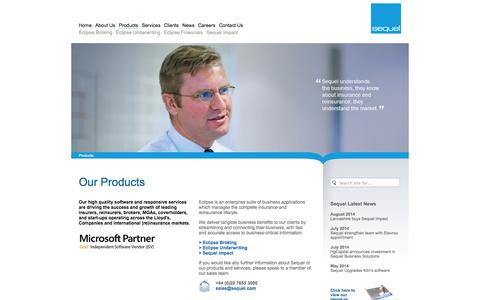 Screenshot of Products Page sequel.com - Sequel Business Solutions - Our Products - Lloyd's, London & Global Insurance Software for Insurers, Reinsurers, Brokers, MGAs, Coverholders - captured Oct. 7, 2014