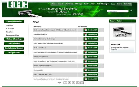 Screenshot of Press Page edac.net - Edac - Your Connection to Quality and Service - captured Oct. 1, 2014