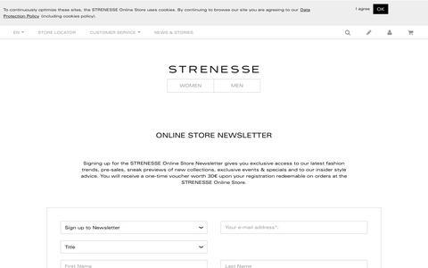 Screenshot of Signup Page strenesse.com - Newsletter | STRENESSE Online Store - captured June 4, 2016