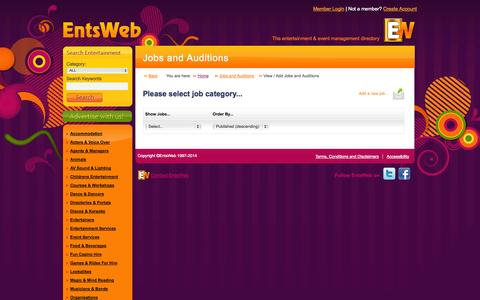 Screenshot of Jobs Page entsweb.ltd.uk - Members Area   Jobs and Auditions - captured Sept. 18, 2014