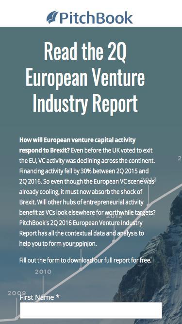 PitchBook 2Q 2016 European Venture Industry Report
