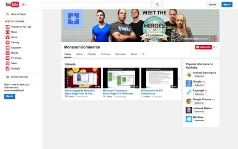 Screenshot of YouTube Page youtube.com - MonsoonCommerce  - YouTube - captured Oct. 22, 2014