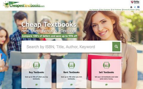 Screenshot of Home Page cheapesttextbooks.com - Cheap Textbooks - Price Compare College Textbooks - Used, New, Rental & eTextbooks - captured Feb. 8, 2016