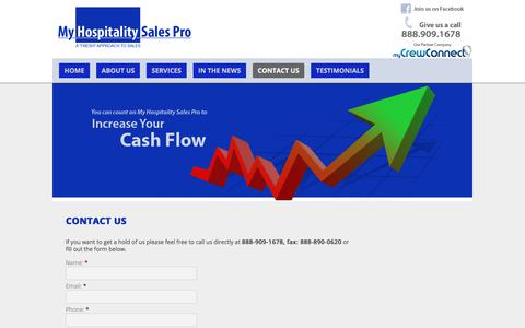 Screenshot of Contact Page myhospitalitysalespro.com - Contact Us   - captured Nov. 2, 2017