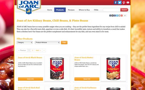 Screenshot of Products Page joanofarc.com - Buy Kidney Beans, Chili Beans & Pinto Beans -Source of Fiber - Joan of Arc - captured March 13, 2016