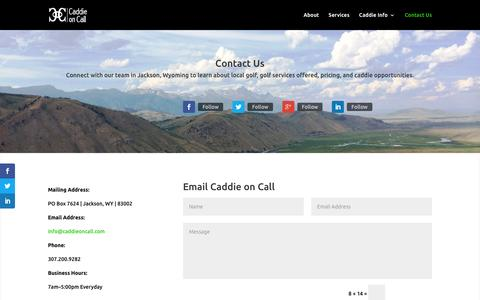 Screenshot of Contact Page caddieoncall.com - Contact Us - Email and Contact Information | Caddie On Call - captured Dec. 6, 2015