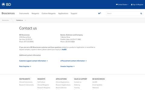 Screenshot of Contact Page bdbiosciences.com - Contact Us - BD | BD Biosciences-US - captured May 24, 2019