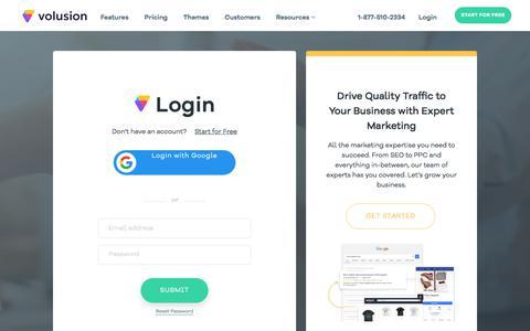 Screenshot of Login Page volusion.com - Login Form - captured June 25, 2018