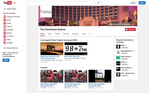 Screenshot of YouTube Page youtube.com - The Commerce Casino  - YouTube - captured Nov. 3, 2014
