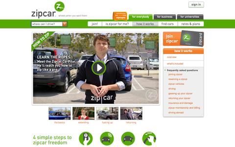 Screenshot of FAQ Page zipcar.com - How It Works. 4 simple steps to freedom from car rental and ownership - captured Sept. 17, 2014