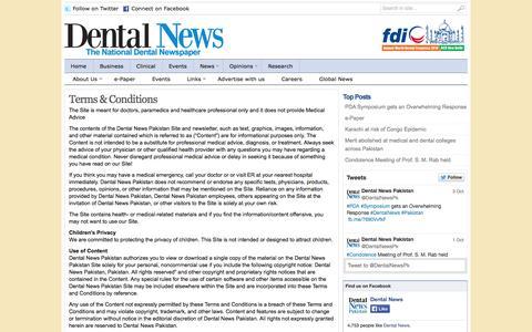 Screenshot of Terms Page dentalnewspk.com - Dental News Pakistan |   Terms & Conditions - captured Oct. 5, 2014