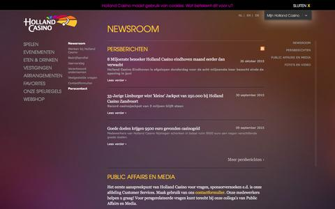 Screenshot of Press Page hollandcasino.nl - Newsroom | Holland Casino - captured Dec. 11, 2015