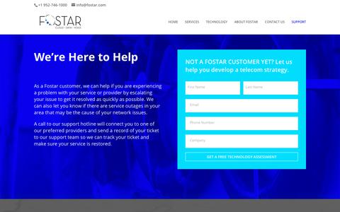 Screenshot of Support Page fostar.com - SUPPORT - We help keep your business connected. - captured June 6, 2019