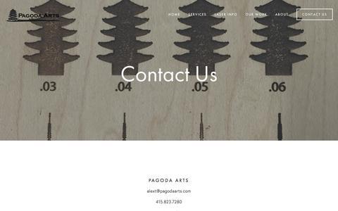 Screenshot of Contact Page pagodaarts.com - Contact Us Ń Pagoda Arts - captured Dec. 6, 2015