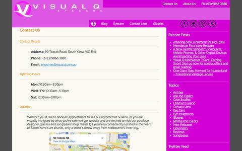 Screenshot of Contact Page visualq.com.au - Contact Us - Visual Q Eyecare - captured Oct. 26, 2014