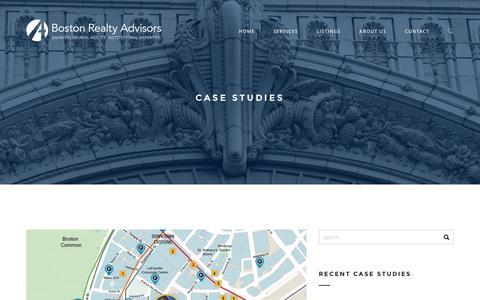 Screenshot of Case Studies Page bradvisors.com - Case Studies | Boston Realty Advisors - captured Nov. 23, 2016