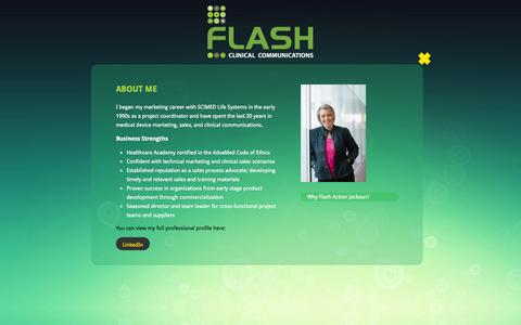 Screenshot of About Page flashactionjackson.com - About Michelle Jackson Loher: Clinical Communications Consultant | Flash Clinical Communications - captured Sept. 26, 2014
