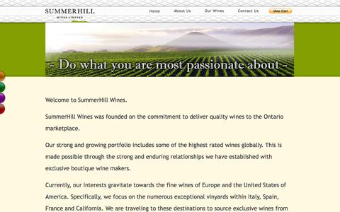Screenshot of About Page summerhillwines.com - Wine Agency   Ontario   About Us   Summerhillwines.com - captured Oct. 8, 2014