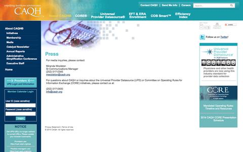 Screenshot of Press Page caqh.org - CAQH Media | Affordable Health Care Media | News - captured Sept. 22, 2014