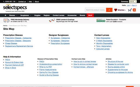 Screenshot of Site Map Page selectspecs.com - Site Map - captured Jan. 19, 2016