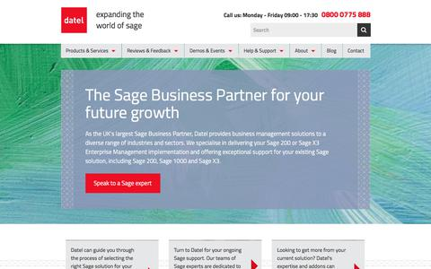 Screenshot of Home Page datel.info - Datel - The UK's largest Sage Business Partner - captured Aug. 5, 2018