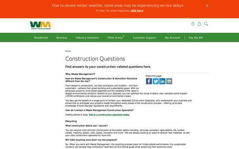 Screenshot of FAQ Page wm.com - Construction & Demolition Waste Recycling Questions | Waste Management - captured April 9, 2018