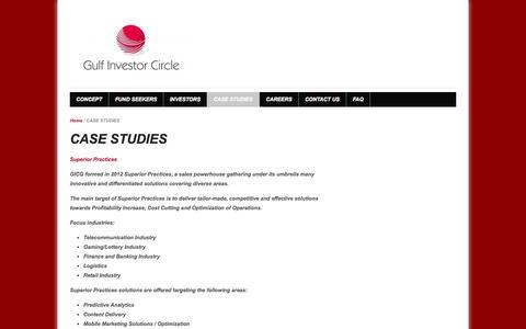Screenshot of Case Studies Page gulfinvestorcircle.com - CASE STUDIES - captured Oct. 3, 2014