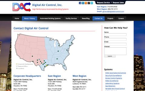 Screenshot of Contact Page Locations Page digitalaircontrol.com - Contact Digital Air Control for Building Automation Systems in Houston & West Texas - captured Oct. 23, 2014
