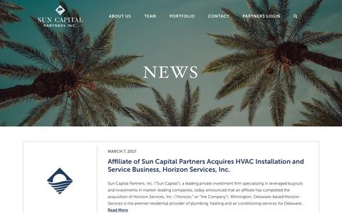 Screenshot of Press Page suncappart.com - News & Press | Sun Capital Partners - captured June 24, 2017
