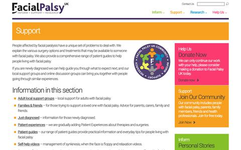 Screenshot of Support Page facialpalsy.org.uk - Support - Facial Palsy UK - captured Oct. 10, 2018