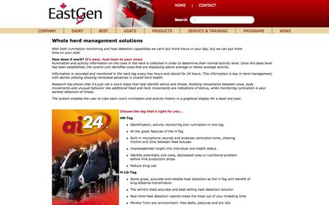 Screenshot of Products Page eastgen.ca - EastGen - captured Oct. 1, 2014